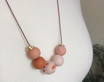 Pink clay necklace