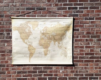 Map wall hanging etsy vintage world map canvas wall map large hanging school map 3 ft by 4 gumiabroncs Image collections