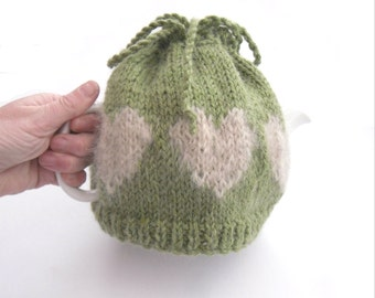 Wool heart tea cosy for Valentines Day