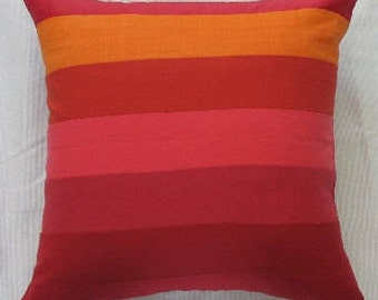 orange and red striped linen floor pillow cover. 24 inches. Custom made to choice of size up to 26 inches.