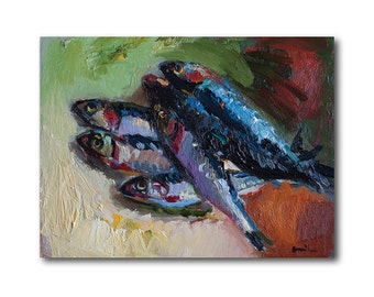 Fine Art Giclee Print, Still Life with Anchovies, Prints Oil Painting Fish Kitchen Wall Decor Food Artwork Foodie Gift Anchovy Sardine Fishy