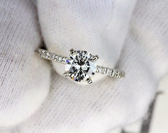 Unique Classic Engagement Ring White Gold GIA Certified 1ct. VS1 H Ideal Cut
