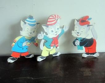 Jahrgang drei kleine Kätzchen Kindergarten Wandkunst - 1950er Jahre - Midcentury - die Dolly Toy Company - Kinderlied - Katze Kunst - Kid Room Decor