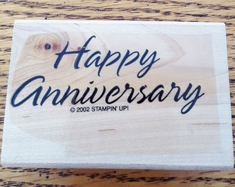 Happy Anniversary Rubber Stamp retired from Stampin Up