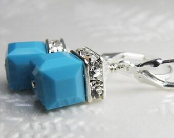 Turquoise Cube Earrings, Teal Swarovski Crystal, Sterling Silver, Short Dangle Drop, Wedding Jewelry December Birthstone Birthday Gift