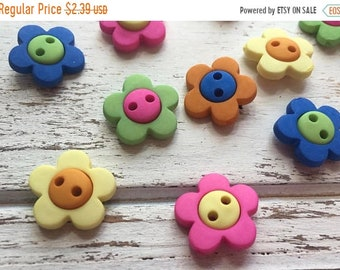 """SALE Flower Buttons, Packaged Novelty Buttons """"Hot Flowers"""" #2102 by Buttons Galore, Assorted Colors, Sew Through, 2 Hole Buttons"""