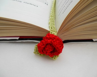 Crochet Rose Bookmark Floral Bookmark  Teacher / Party Favor /  Gift For Her Book Accessory