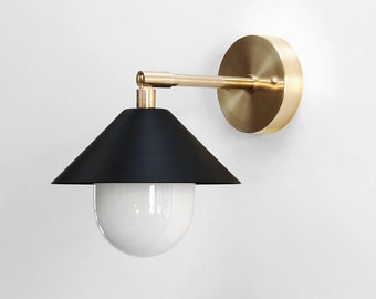 "Modern Wall Lamp - Modern Sconce - Modern Wall Light - Brass Sconce - Modern Brass Lamp - Bedside Reading Lamp - ""UFO"""
