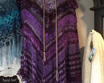 Cotton  Poncho, Hand Knit in Purple Yarn