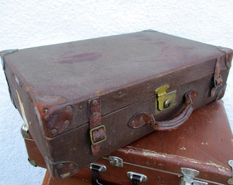 Vintage Luggage, Flaxite Foundation, Vintage Suitcase, Old Suitcase, Photo Prop, Vintage Storage, Vintage Case, Home Decor, Leather Trim