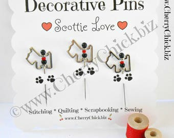 Decorative Sewing Pins - Scottie Dog Sewing Pins - Pin Toppers - Gift for Quilters - Scrapbooking Pins - Quilting Pins - Scotty Dog pins
