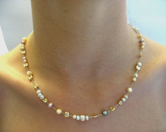 Freshwater pearls and gold balls on 14k yellow gold chain-Scintillating Necklace
