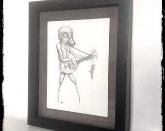 The Troubadour framed Original Drawing.
