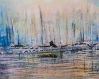 Acrylic Painting, Abstract Painting, Sailing Painting, Boat Painting, Original Painting, Sail Boat Painting, Small Canvas Painting, Wa;; Art