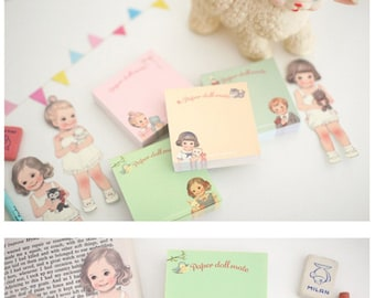 Memo Note Pad  - Girl Doll Paper Doll Mate, S039