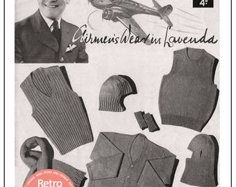1940's Wartime Service Knits for Airmen  - Vintage Pattern - PDF Instant Download
