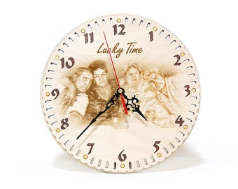 Wooden wall clock with a portrait Family wall clock Designer clock Circle wall clock Personalized clock with photo Round Clock engraving