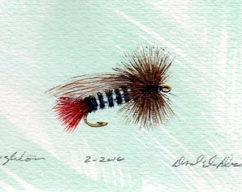 Art - de pêche spécial de Houghton - aquarelle - Original Art - Made in Michigan - Michigan artiste - mouche pêche - cadre noir - cadeaux pour lui