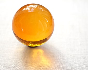 "Huge Glass Ball 39mm 1 1/2"" Large Honey Yellow Marble Big Glass Marble Vintage Marble Colorful Crystal Ball Sphere Collectors Marble + Stand"