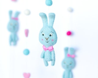 Bunny Baby Mobile Baby - Rabbit Mobile Bebe - Hare Felt Mobile - Crib Mobile Nursery Decor Baby Shower Gift Nursery Mobile Woodland Mobile
