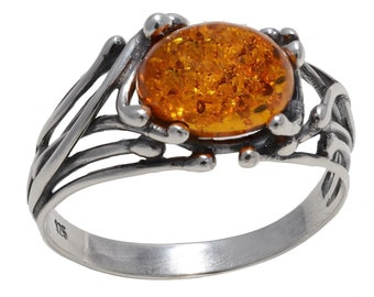 "Sterling Silver and Baltic Honey Amber Ring ""Willow"""