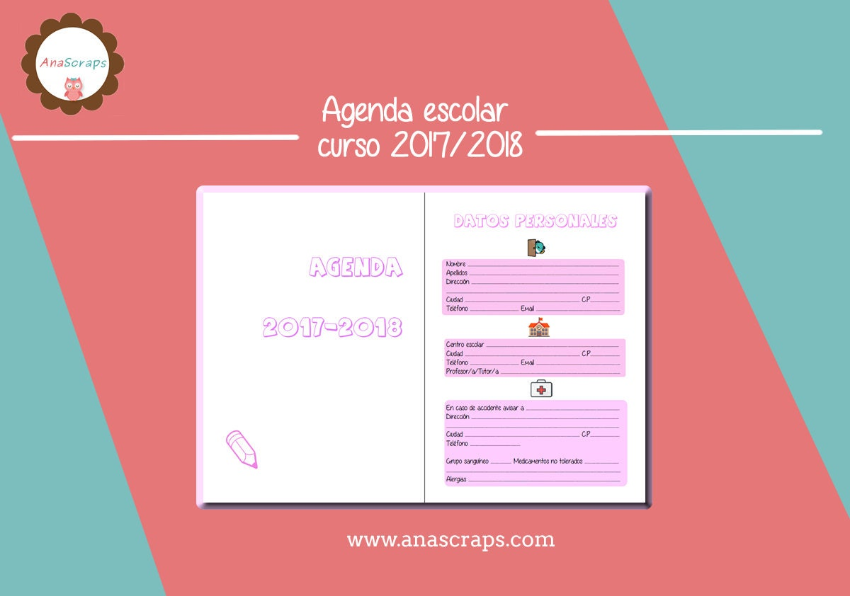 Plantilla de Agenda escolar para Scrapbooking Planificador