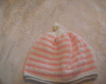 Pixie hat for baby (pink, white and gray), size newborn to 6 months