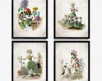 Flower Girl Set of 4 Vintage Prints - Flower Girls Poster - Flower Girl Art - Flower Poster - Home Decor - Bathroom Art - Grandville