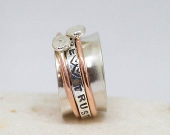 Spinner ring, Personalized spinner ring, Personalized jewelry, Anxiety silver ring, Sterling silver ring, Heart ring, Couples silver ring