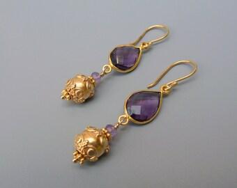 Amethyst Earrings, Purple Earrings, Amethyst Gold Earrings, Birthstone Earrings, Amethyst Teardrop Earrings, February Birthstone Gift