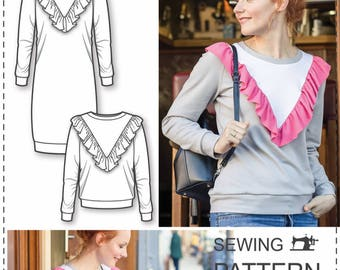 Sweatshirt Sewing Pattern - Womens Sewing Patterns - Sweatshirt Pattern - Dress Sewing Pattern - Simple Sewing Projects - Sewing Tutorial