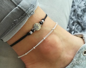 Compass Anklet, Compass Jewelry, Silver Compass Anklet, Summer Anklet, Beaded Anklet, Beach Anklet, Travel Anklet, Travel Gift, Compass Gift