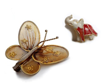 Set of 2 Vintage Brooches - Brass Gold Butterfly Brooch / Pendant and Gold Enameled Elephant Brooch - 1980s