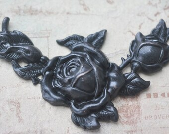 X-Large Rose Brass Corner, Black Satin Finish, Brass Stampings Made in the USA, Brass Corners