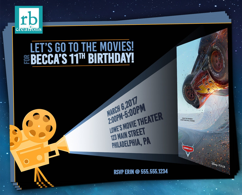 Cars 3 Movie Party Invitations, Movie Invitation, Movie Poster ...