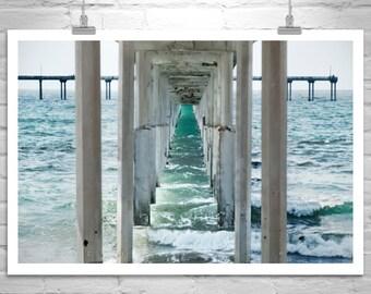 San Diego Art, Ocean Beach Art, California Beach Photograph, Ocean Photo, San Diego Photograph, Under the Pier Picture, San Diego Gift