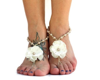 Almond wedding sandals, barefoot sandals, barefoot jewelry, beach bride shoes, beach wedding footwear, satin flowers pearls, color options