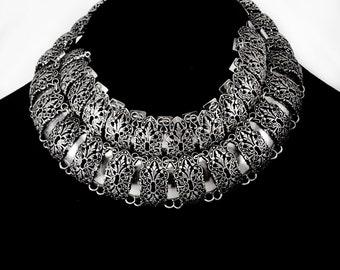 RARE Victorian demi parure / silver set / statement Necklace / enamel Collar and Bracelet Escutcheon Keyhole