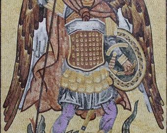 """Saint Michael Rligious Image 51""""x73"""" Wall Art Marble Mosaic FG1100"""