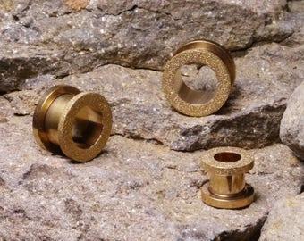 Rose Gold Glitter Ear Tunnel, Screw Ear Tunnel, 316L Surgical Steel, Ear Tunnels, Ear Stretchers