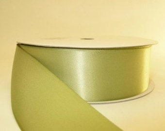 5 yards Spring Moss double faced satin ribbon 1.5 inches, Wedding, Special Occasion, sage green ribbon, sage green satin ribbon, green