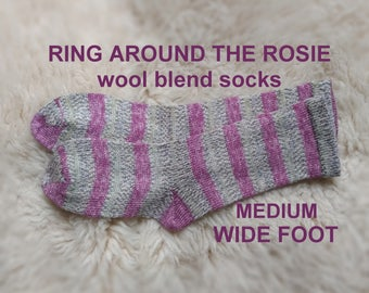 Ring Around The Rosie Socks --- washable wool blend --- MEDIUM WIDE FOOT