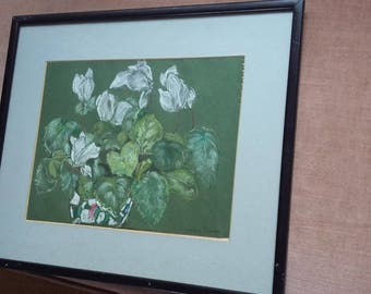 Original Pastel Painting of Flowers in a Vase Still Life