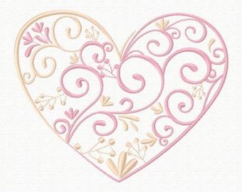 Machine Embroidery Design - Abstract Heart Swirls #03