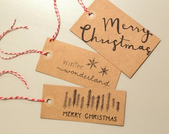 christmas tags printable, Hand drawn Christmas gift tag set, printable gift tag set, instant digital download, half price