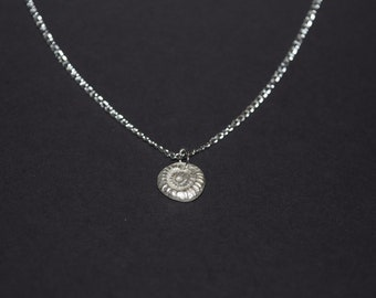 Fossil print silver necklace