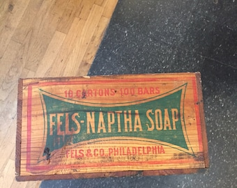 Antique Fels Naptha Wooden Soap Crate