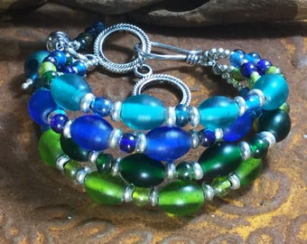 Boho Blue and Green Glass Bracelet