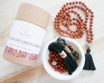 DIY Mala Beads - Grounding, Strength & Protection Red Jasper Mala Beads - Mala Bead Kit/DIY Gift/Mala Kit/Beaded Necklace with Tassel