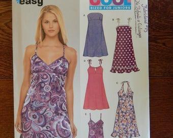 Sundress Sewing Pattern High Waist, Halter/ Easy New Look 6369/ Size Juniors 3- 4, 5- 6, 7- 8, 9- 10, 11- 12, 13- 14/ Cute Slip Dress/ Uncut